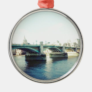 London in blue Silver-Colored round decoration