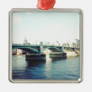 London in blue Silver-Colored square decoration