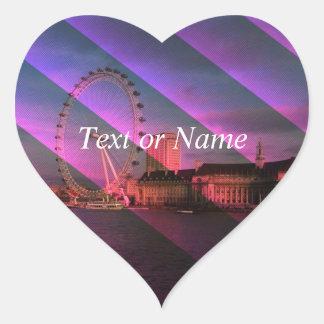 London in Stripes Heart Sticker