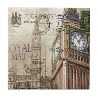 london landmark big ben vintage fashion small square tile