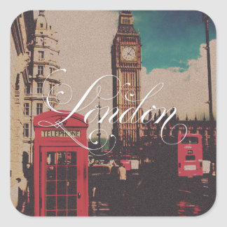 London Landmark Vintage Photo Square Sticker