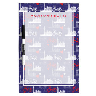 London Landmarks Pattern Dry Erase Whiteboards
