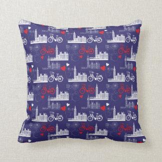 London Landmarks Pattern Throw Pillow
