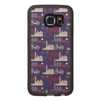 London Landmarks Pattern Wood Phone Case