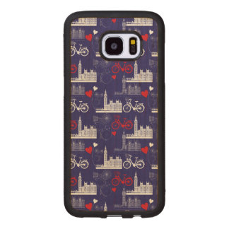 London Landmarks Pattern Wood Samsung Galaxy S7 Edge Case