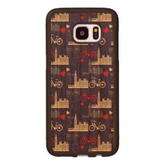 London Landmarks Pattern Wood Samsung Galaxy S7 Edge Case