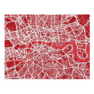 London Map Art Red Post Card
