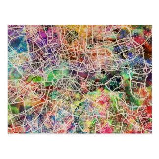 London Map Art Watercolour Postcard