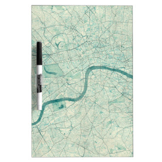 London Map Blue Vintage Watercolor Dry Erase Board