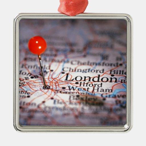 LONDON map Christmas Ornaments