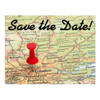 London Map Pin Save the Date Post Card