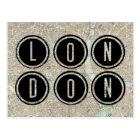 London Map Typography Postcard