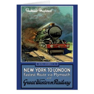 London  New York Great Western Railway Card