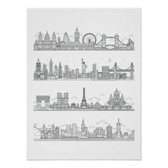 London New York Paris San Francisco Skyline Poster