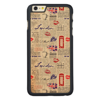 London Newspaper Pattern Carved Maple iPhone 6 Plus Case