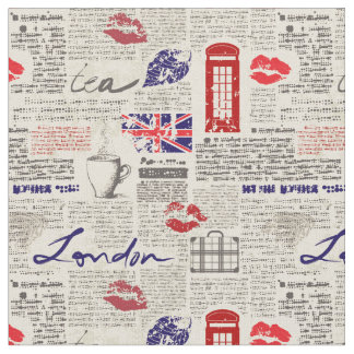 London Newspaper Pattern Fabric