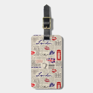 London Newspaper Pattern Luggage Tag