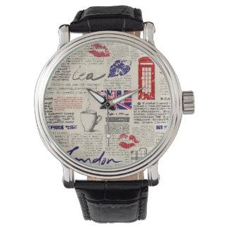 London Newspaper Pattern Watch