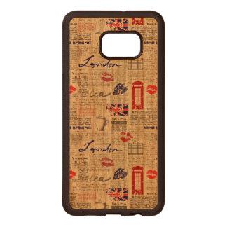 London Newspaper Pattern Wood Samsung Galaxy S6 Edge Case