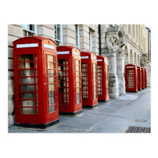 London,  old style red telephone boxes postcard