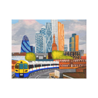 London overland train-Hoxton station Stretched Canvas Prints