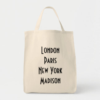 London Paris New York Madison Tote Bag