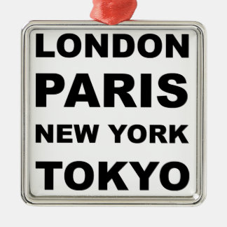 London, Paris, New York, Tokyo. Silver-Colored Square Decoration