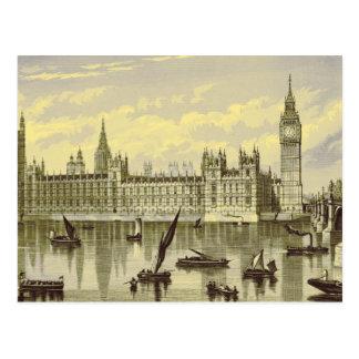 London Parliament Big Ben Thames Westminster 1800s Postcard