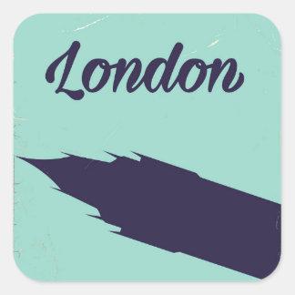 London Parliament Big ben vintage poster Square Sticker
