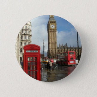London Phone box & Big Ben (St.K) 6 Cm Round Badge