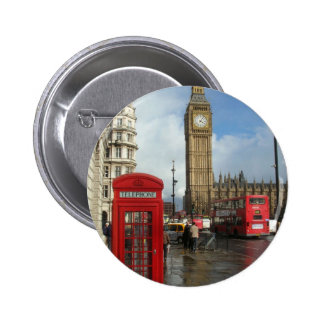 London Phone box & Big Ben (St.K) 6 Cm Round Badge