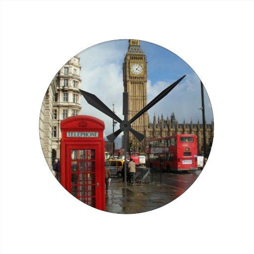 London Phone box & Big Ben (St.K) Round Wallclock