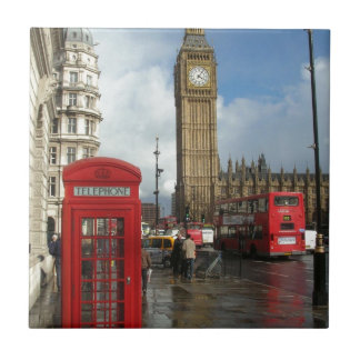 London Phone box & Big Ben (St.K) Small Square Tile