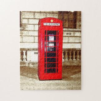London Phone Box (poster edge effect) Jigsaw Puzzle