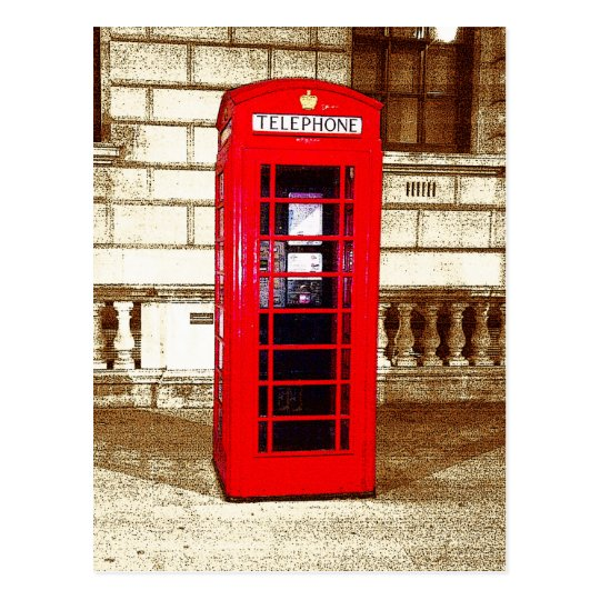 London Phone Box (poster edge effect) Postcard