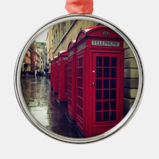 London phone boxes Silver-Colored round decoration