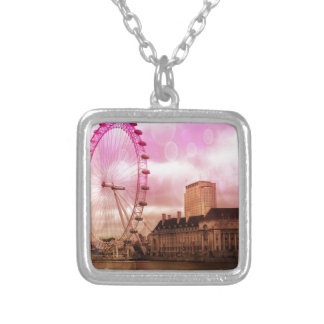 london,pink effect silver plated necklace