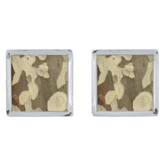 London Plane Tree Bark Cufflinks Silver Finish Cufflinks