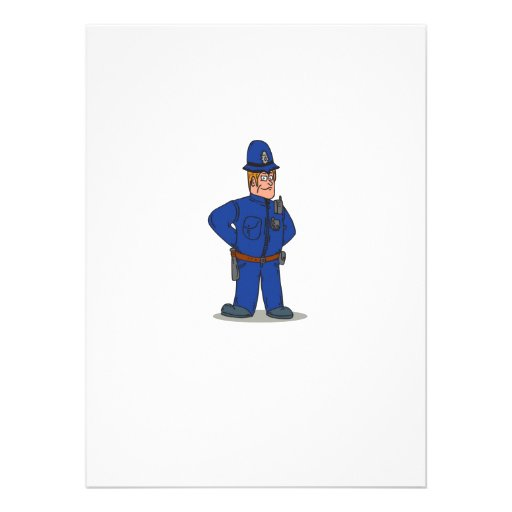 London Policeman Police Officer Cartoon Personalized Invites