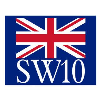 London Postcode SW10 with Union Jack Post Card