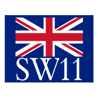 London Postcode SW11 with Union Jack Postcard