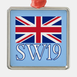 London Postcode SW19 with Union Jack Christmas Ornament