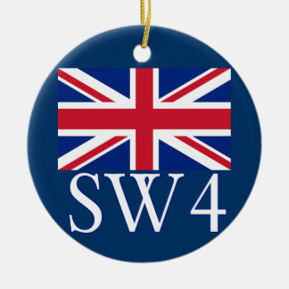 London Postcode SW4 with Union Jack Christmas Ornament