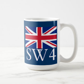 London Postcode SW4 with Union Jack Coffee Mug