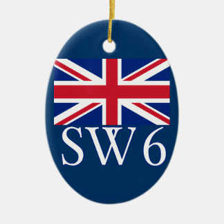London Postcode SW6 with Union Jack Christmas Ornament