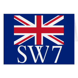 London Postcode SW7 with Union Jack Card