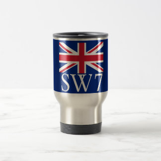 London Postcode SW7 with Union Jack Travel Mug