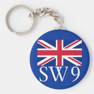 London Postcode SW9 with Union Jack Basic Round Button Key Ring