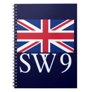 London Postcode SW9 with Union Jack Notebook