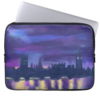 London purple sunset watercolour art computer sleeves